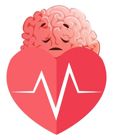 Brain has heart issues, illustration, vector on white background.