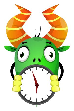 The monster with horn holding a wall clock, illustration, vector on white background.