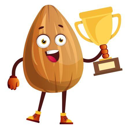 Almond won golden trophy, illustration, vector on white background.
