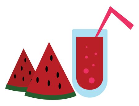 Watermelon juice in a blue colored glass with a straw inside, vector, color drawing or illustration.