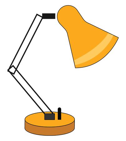 A yellow table lamp with a switch, vector, color drawing or illustration.