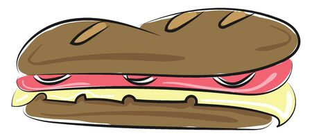 Sandwich is a piece of light meal consists of two slices of bread, vegetables, slice of cheese, meat and sometimes pieces of egg. , vector, color drawing or illustration.