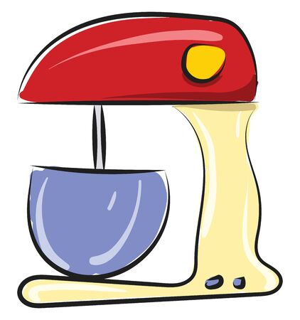 A red colored mixer with a yellow nob and two blue colored buttons with a blue colored mixer jar, vector, color drawing or illustration.