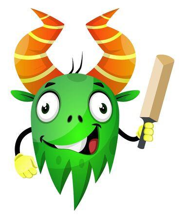 Monster with small sword, illustration, vector on white background.