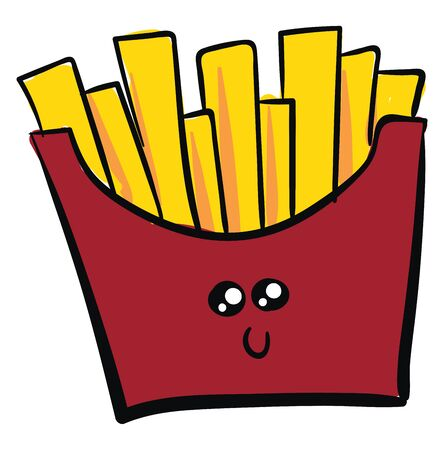 French fries are long, thin pieces of potato that are deep-fried and eaten hot., vector, color drawing or illustration.