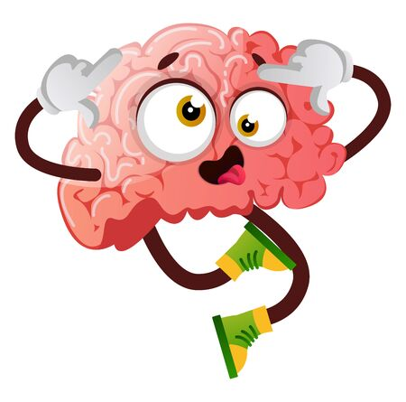 Brain is acting silly, illustration, vector on white background.