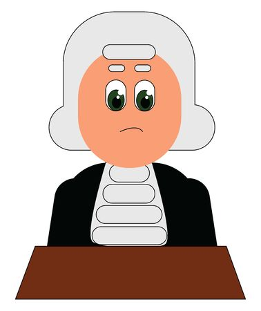 A confused judge with white hair and green eyes sitting in the courtroom, vector, color drawing or illustration.