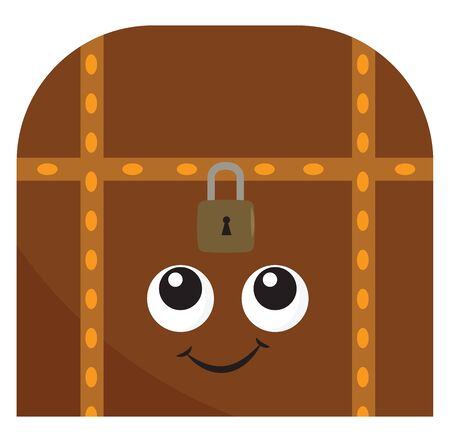 A dark brown treasure chest with lock, big eyes and smiling face, vector, color drawing or illustration.