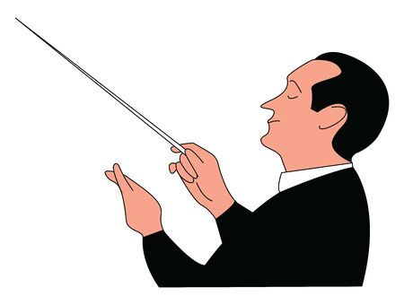 Conductor, illustration, vector on white background.