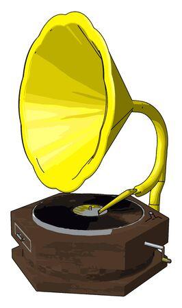 Old retro gramophone, illustration, vector on white background.