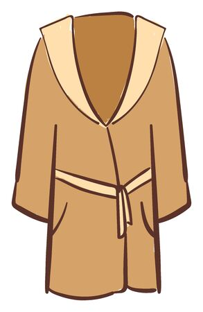 Brown bathrobe, illustration, vector on white background.
