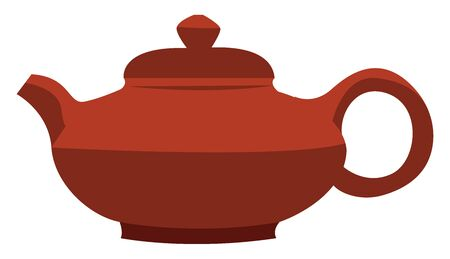 Red chinese teapot, illustration, vector on white background. Vectores