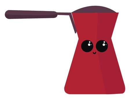 Red coffee cezve, illustration, vector on white background.
