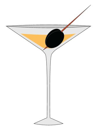 Cocktail with olive, illustration, vector on white background.