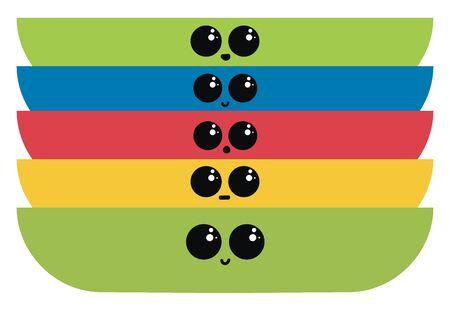 Multicolor plates, illustration, vector on white background. 矢量图像