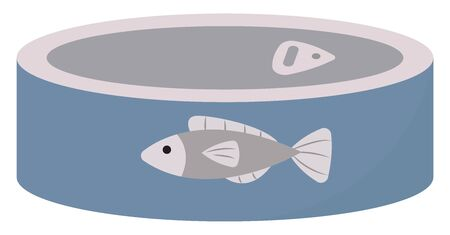 Blue fish can, illustration, vector on white background. Ilustrace