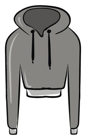 Gray hoodie, illustration, vector on white background.
