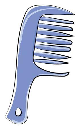Blue comb, illustration, vector on white background. Ilustração