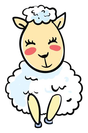 Happy little sheep, illustration, vector on white background.