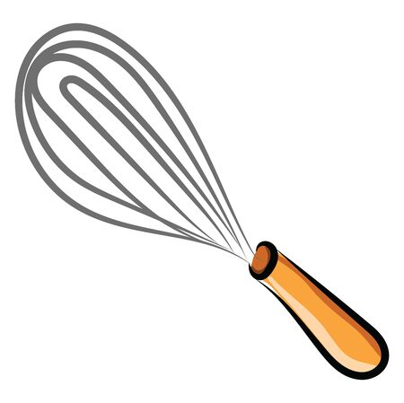 Hand mixer drawing, illustration, vector on white background.
