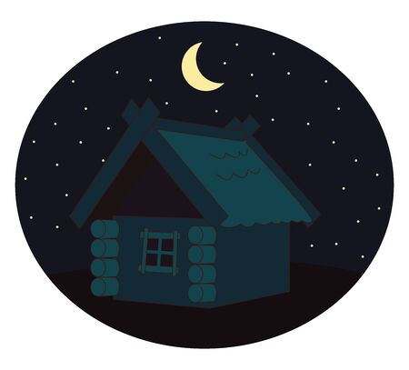 House in night, illustration, vector on white background. 向量圖像