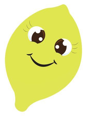 Happy lemon, illustration, vector on white background.