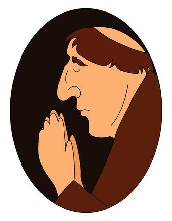 Monk praying, illustration, vector on white background.