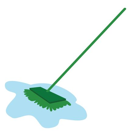 Green mop, illustration, vector on white background.