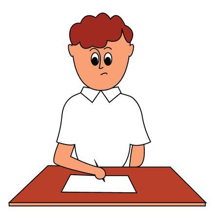 Boy doing paperwork, illustration, vector on white background. Stock Illustratie