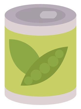 Peas in bottle, illustration, vector on white background.