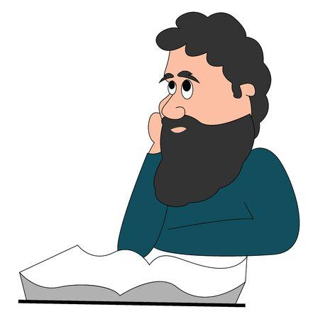 Philosopher, illustration, vector on white background. Foto de archivo - 132757449