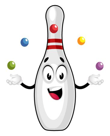 Bowling pin juggling, illustration, vector on white background.