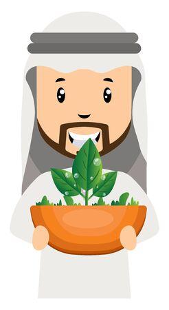 Arab holding plant, illustration, vector on white background.