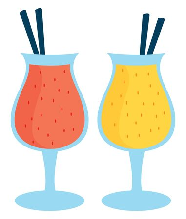 Two smoothies, illustration, vector on white background. Çizim