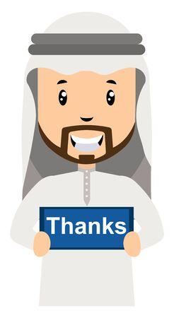 Arab with thanks sign, illustration, vector on white background. Illustration
