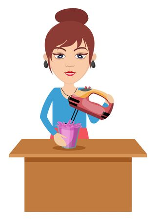 Woman making smoothie, illustration, vector on white background. Çizim