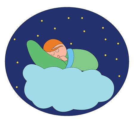 Sleep in the clouds, illustration, vector on white background. Illustration