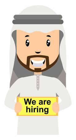 Arab is hiring, illustration, vector on white background.  イラスト・ベクター素材