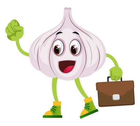 Garlic with suitcase, illustration, vector on white background.