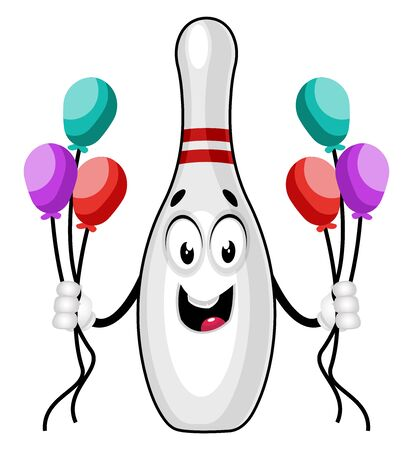 Bowling pin with balloons, illustration, vector on white background. Illustration