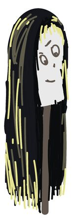 Scary wig, illustration, vector on white background. Banco de Imagens - 132706221