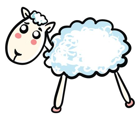 Sad little sheep, illustration, vector on white background.