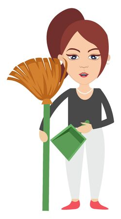 Woman with dust pan, illustration, vector on white background. Illustration