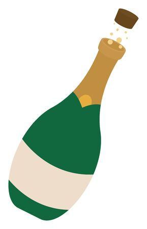 Champagne bottle, illustration, vector on white background.