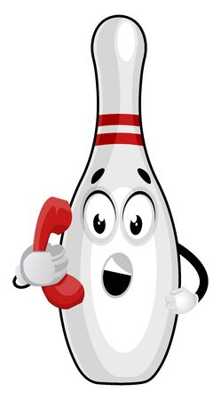 Bowling pin on telephone, illustration, vector on white background.