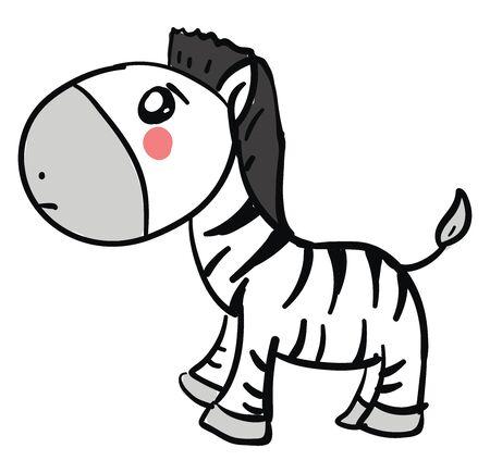 Sad zebra, illustration, vector on white background. Foto de archivo - 132758373