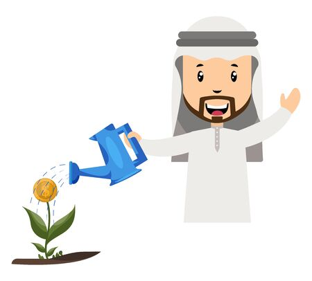 Arab watering flower, illustration, vector on white background.