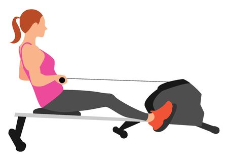 Rowing machine, illustration, vector on white background.