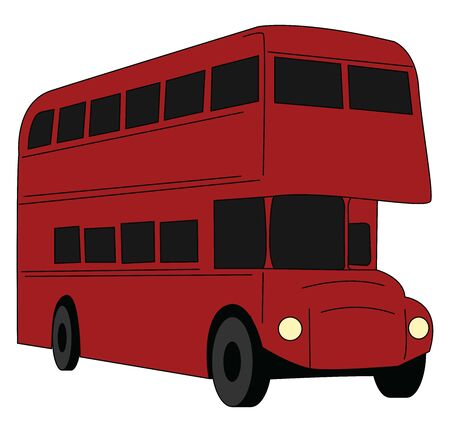 Red bus, illustration, vector on white background.