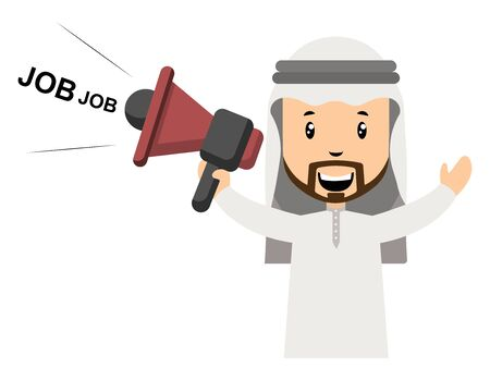Arab with megaphone, illustration, vector on white background.